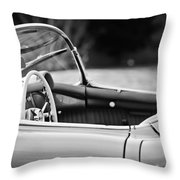 1954 Chevrolet Corvette Steering Wheel -407bw Throw Pillow
