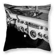 1954 Chevrolet Corvette Steering Wheel -502bw Throw Pillow