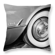 1954 Chevrolet Corvette Wheel Emblem -159bw Throw Pillow
