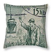 1954 Czechoslovakian Construction Worker Stamp Throw Pillow