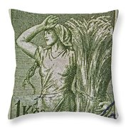 1954 Czechoslovakian Farm Woman Stamp Throw Pillow