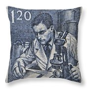 1954 Czechoslovakian Scientist Stamp Throw Pillow