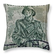 1954 Czechoslovakian Soldier Stamp Throw Pillow