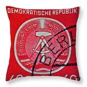 1954 German Democratic Republic Stamp - Berlin Cancelled Throw Pillow
