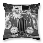 1954 Jaguar Xk 120 Se Ots Bw Throw Pillow