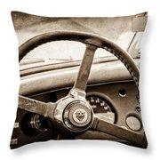 1954 Jaguar Xk120 Roadster Steering Wheel Emblem Throw Pillow