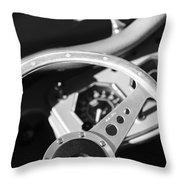 1954 Mg Tf Steering Wheel Emblem -0920bw Throw Pillow