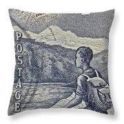 1954 Mount Aspiring New Zealand Stamp Throw Pillow