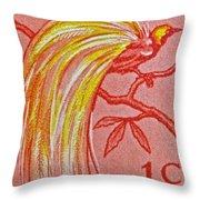 1954 Netherlands New Guinea Paradise Bird Stamp Throw Pillow