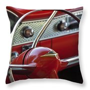 1955 Chevrolet Belair Nomad Steering Wheel Throw Pillow by Jill Reger
