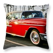 1955 Chevy Bel Air Down The Side - Red And White Throw Pillow