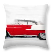 1955 Chevy Bel Air Watercolor Throw Pillow