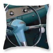 1955 Chevy Nomad Steering Wheel Throw Pillow