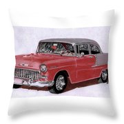 1955 Chevy Post Streeter Throw Pillow