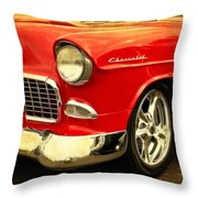 1955 Chevy Red Throw Pillow
