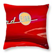 1955 Ford F-100 Pickup Truck Side Emblem -3515c Throw Pillow