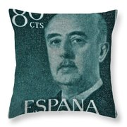 1955 General Franco Spanish Stamp Throw Pillow