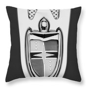 1955 Lincoln Indianapolis Boano Coupe  Emblem -0283bw Throw Pillow