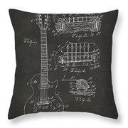 1955 Mccarty Gibson Les Paul Guitar Patent Artwork - Gray Throw Pillow