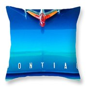 1955 Pontiac Safari Hood Ornament 4 Throw Pillow