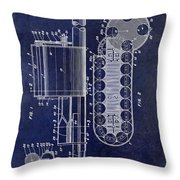 1955 Rocket Launcher Patent Drawing Blue Throw Pillow