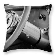 1956 Chevrolet 210 2-door Handyman Wagon Steering Wheel Emblem -189bw Throw Pillow
