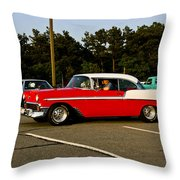 1956 Chevy Bel Air Red And White Throw Pillow