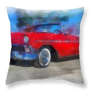 1956 Chevy Car Photo Art 01 Throw Pillow