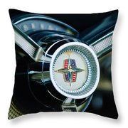 1956 Lincoln Continental Mark II Hess And Eisenhardt Convertible Steering Wheel Emblem Throw Pillow