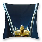 1956 Lincoln Premiere Convertible Hood Ornament Throw Pillow