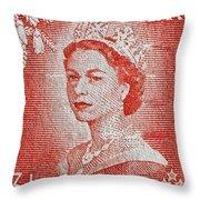 1956 Queen Elizabeth New Zealand Stamp Throw Pillow