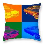 1956 Sedan Deville Cadillac Luxury Car Pop Art Throw Pillow