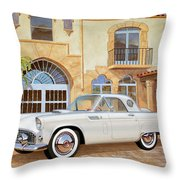1956 Thunderbird At Palm Beach  Classic Vintage Ford Art Sketch Rendering          Throw Pillow