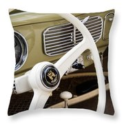 1956 Vw Convertible Steering Wheel Throw Pillow