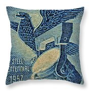1957 America And Steel Growing Together Stamp Throw Pillow