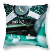 1957 Aston Martin Dbr2 Steering Wheel Emblem -2345c Throw Pillow