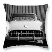 1957 Chevrolet Corvette -0010bw Throw Pillow