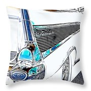 1957 Chevrolet Bel Air Art White Throw Pillow