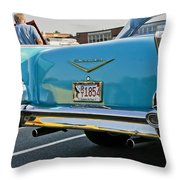 1957 Chevy Bel Air Blue From Rear Throw Pillow