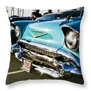 1957 Chevy Bel Air Blue Front End Throw Pillow