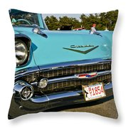 1957 Chevy Bel Air Blue Front Grill Throw Pillow
