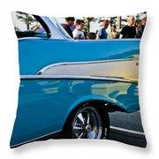 1957 Chevy Bel Air Blue Rear Quarter Throw Pillow