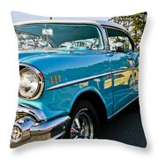 1957 Chevy Bel Air Blue Right Side Throw Pillow