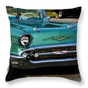 1957 Chevy Bel Air Green Front End Throw Pillow