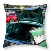 1957 Chevy Bel Air Green Rear Trunk Open Throw Pillow