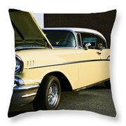 1957 Chevy Bel Air Yellow Down The Side Throw Pillow