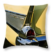 1957 Chevy Bel Air Yellow Fin And Tail Light Throw Pillow