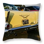 1957 Chevy Bel Air Yellow From Rear Quater Throw Pillow