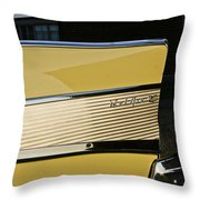 1957 Chevy Bel Air Yellow Rear Quarter Panel Throw Pillow