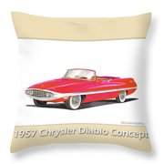 1957 Chrysler Diablo Convertible Coupe Throw Pillow by Jack Pumphrey